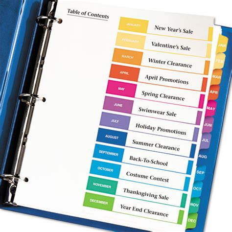 avery 174 ready index customizable table of contents