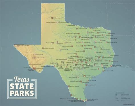map of texas state parks texas state parks map 11x14 print