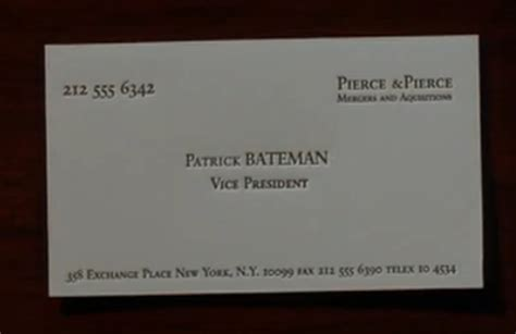 American psycho movie quotes business card reheart Choice Image