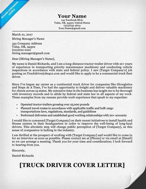 Cover Letter For Truck Driver by Truck Driver Cover Letter Sle Resume Companion