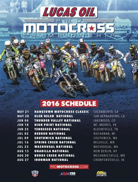 2015 pro motocross schedule annunciato calendario lucas oil pro mx 2016 motocross it