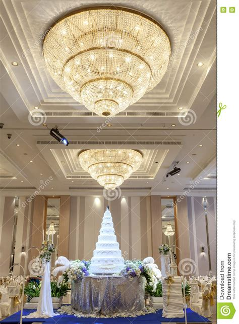 Decorations For The Ceiling by Wedding Cake And Flowers Decorations With Chandelier On