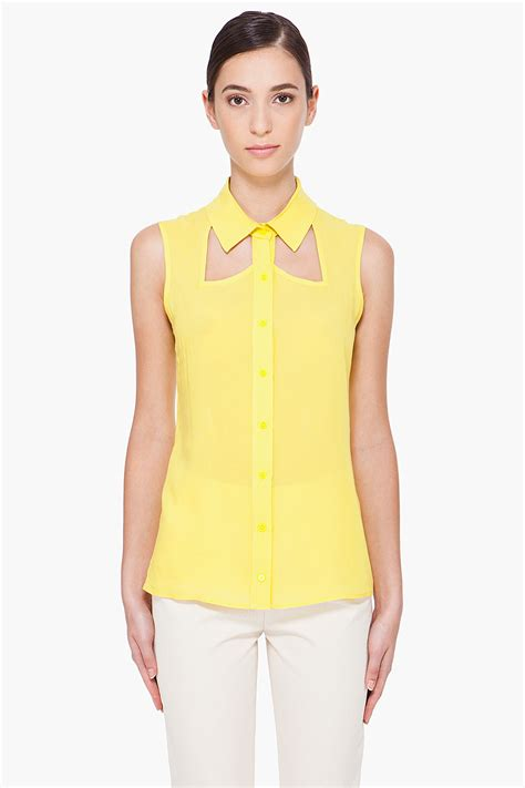 Yell O Blouse cushnie et ochs yellow sleeveless blouse in yellow lyst