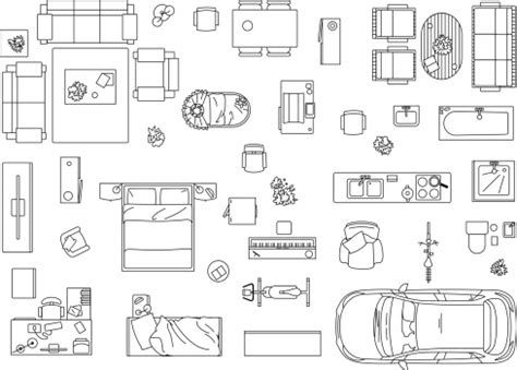 furniture in floor plan vector image set of furniture appliances and car vector