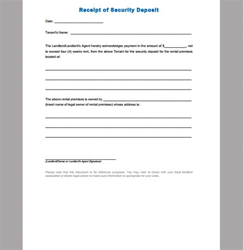 deposit receipt template receipt template for security deposit format of security