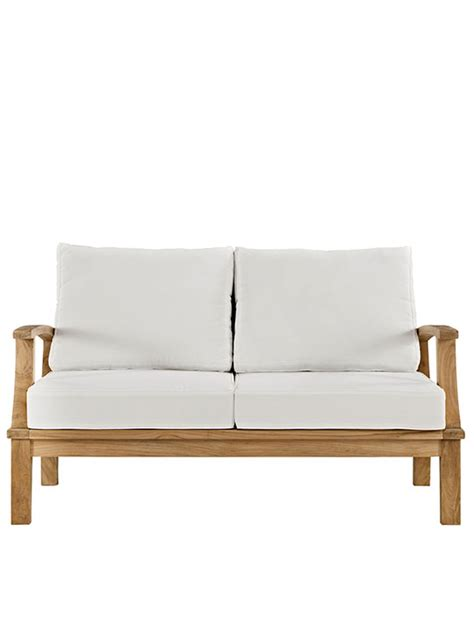 teak loveseat teak outdoor loveseat modern furniture brickell collection