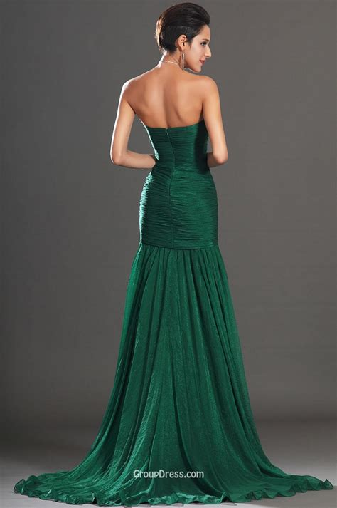 Dark Green Strapless Beaded Embroidered Slit Long Prom