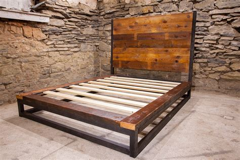 reclaimed wood platform bed abbey road industrial platform bed from reclaimed wood