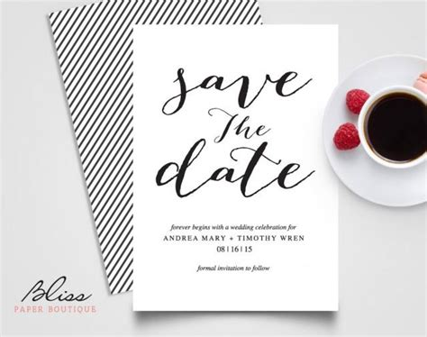 save the date invite template black and white custom printable save the date save the