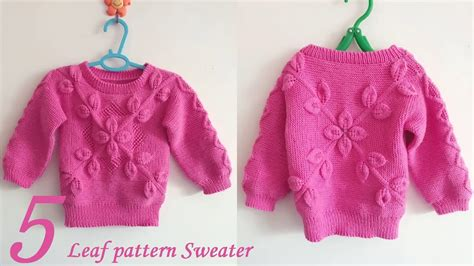 leaf pattern jumper how to crochet baby clothes leaf pattern sweater 5 10