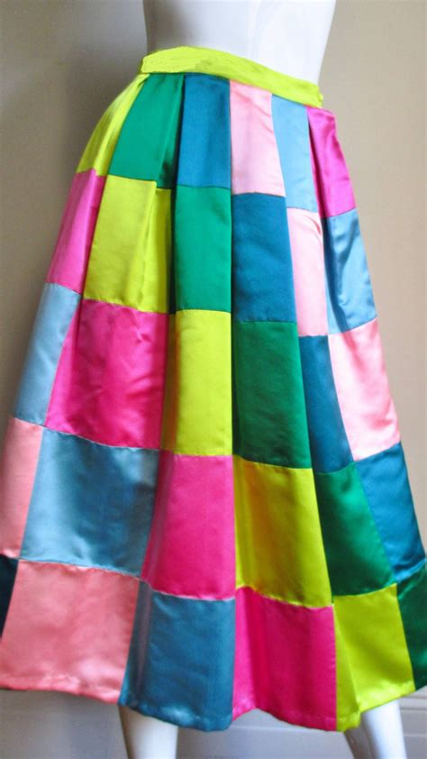 Silk Patchwork - 1950 s hattie carnegie silk patchwork skirt for sale at
