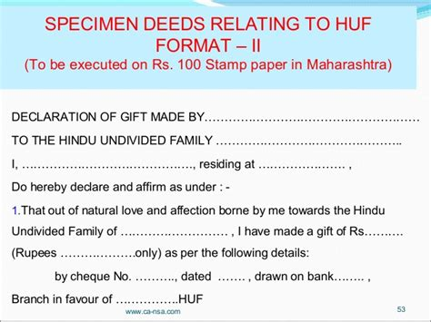 Sle Gift Agreement Letter Huf Tax Planning