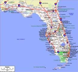 florida map showing cities and towns florida cities