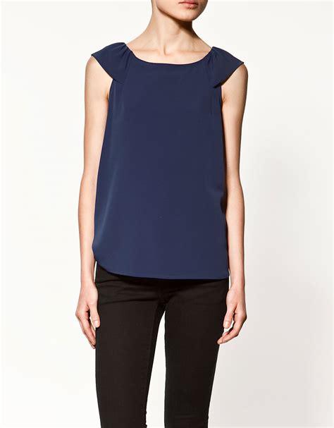 Zara Blouse Songket Navy zara sleeveless blouse with flounce in blue navy lyst