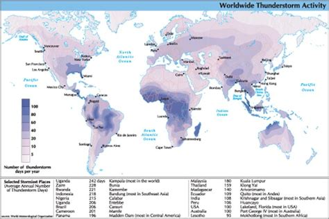 thunderstorm map usa thunderstorms the stormiest places in the u s a and