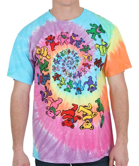 grateful dead spiral bears tie dye t shirt
