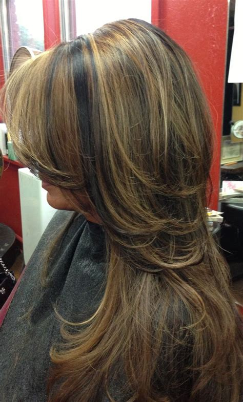 dark brown lowlights and highlight hair color with side dark hair with carmel highlights dark hair with caramel