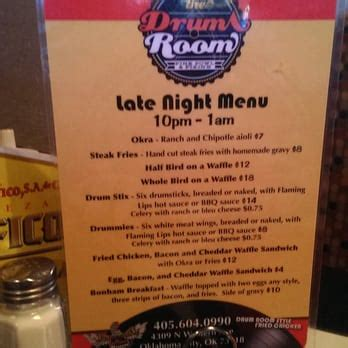 drum room okc menu the drum room oklahoma city ok yelp