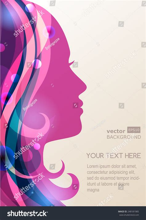 beauty layout vector beautiful girl silhouette colorful hair vector stock