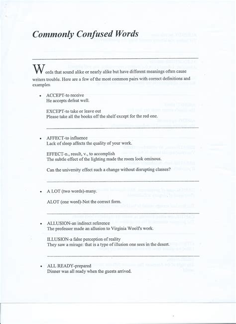 Commonly Misused Words Worksheet by Commonly Confused Words Worksheet Answers The Best And