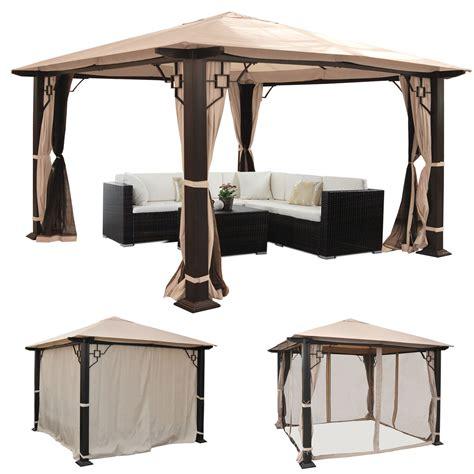 pavillon mit klappbarer seitenwand pergola mira garten pavillon 12cm luxus alu gestell mit