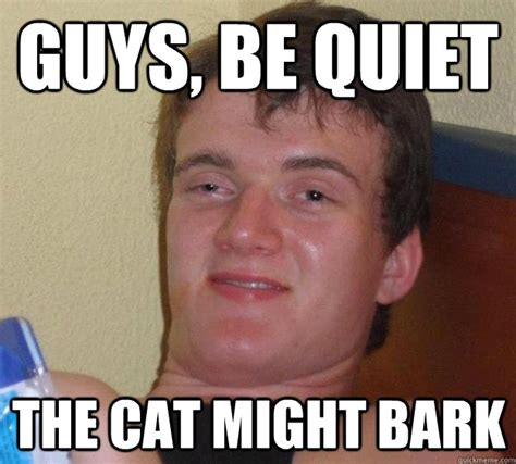 Be Quiet Meme - guys be quiet the cat might bark 10 guy quickmeme