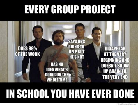 Meme Group - every group project you have ever done hangover meme