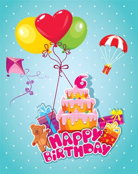 Baby Birthday Card Design Baby Birthday Card With Cake Vector Material 06 Vector
