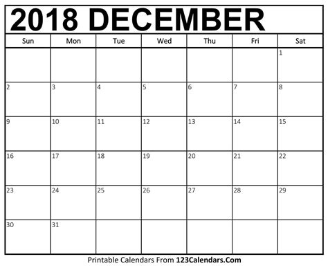 Dec Calendar Template printable december 2018 calendar templates 123calendars