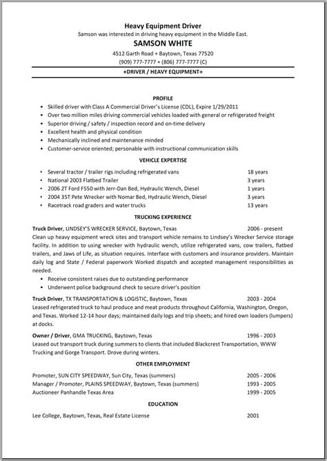 Resume Templates Driver heavy equipment truck driver resume sle vinodomia