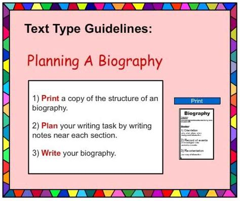 structure of a biography for students biography writing poster english skills online