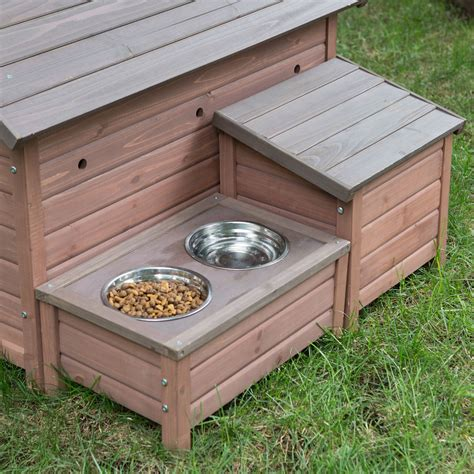 dog house food solid wood a frame outdoor dog house with food bowl and storage fastfurnishings com