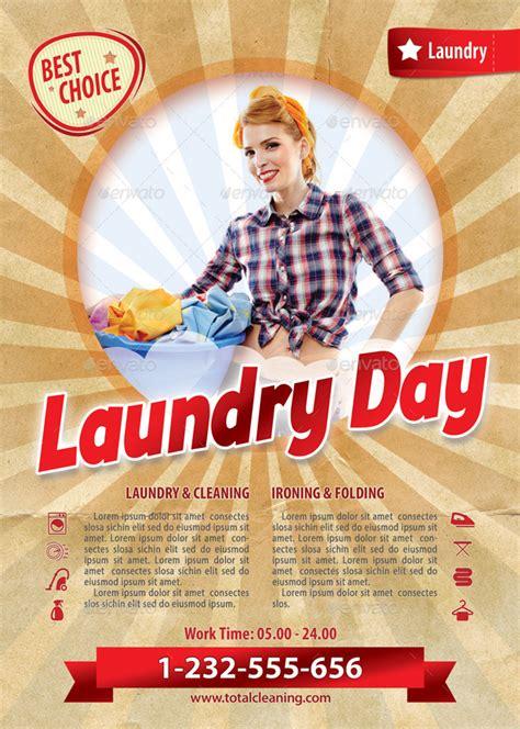 retro laundry day flyer template   min graphicriver