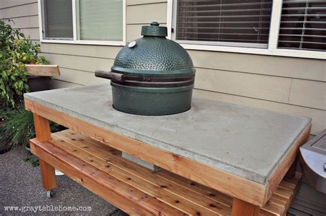 diy big green egg grill table  concrete top ana white
