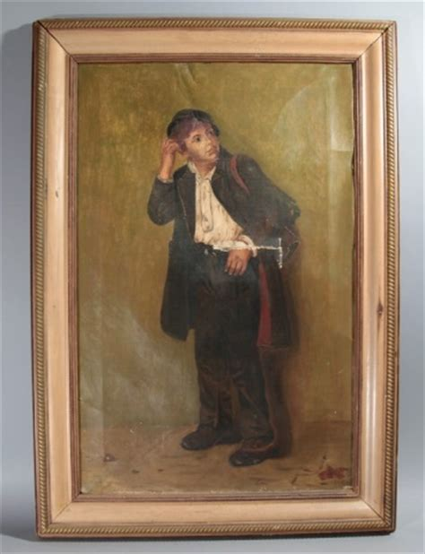 j.g.brown 1831 1913 signed & framed oil painting