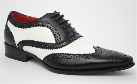 mens leather look spats brogues gatsby shoes black white