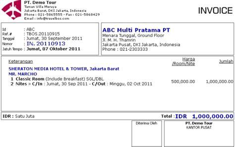 cara membuat invoice pelunasan travelbos bukti penerimaan aplikasi akunting travel