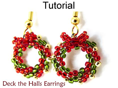 patterns christmas jewelry earrings beading tutorial holiday wreath beaded pattern