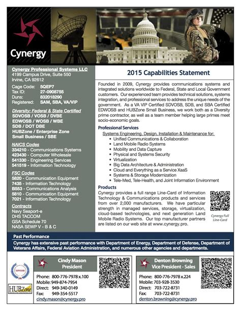 Cynergy Professional Systems Capabilities Statement Capability Statement Template For Government Contractors