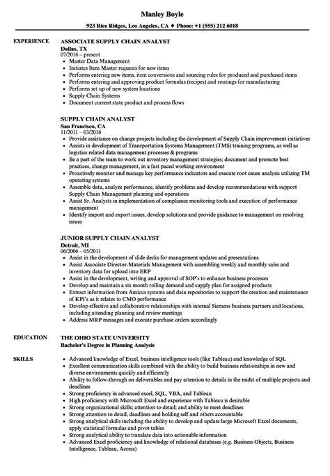 Supply Chain Analyst Resume by Supply Chain Analyst Resume Sles Velvet