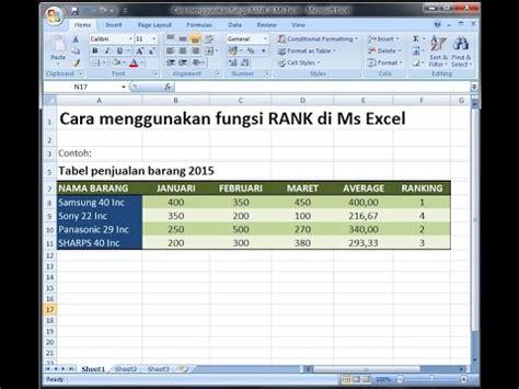 membuat ranking di excel 2007 excel 2007 tutorial cara menentukan ranking dengan rumus