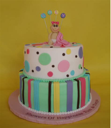 Colorful Baby Shower Cakes by Colorful Baby Shower Cake With Baby Topper Smiling