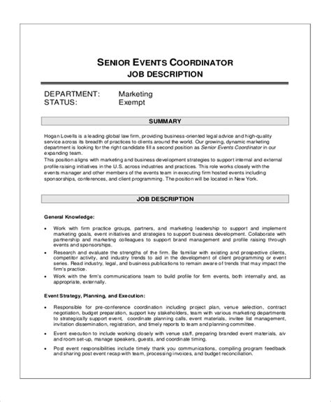 events manager description template description of event planner
