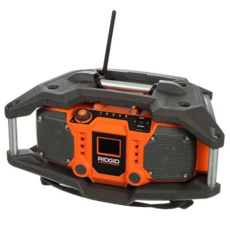 ridgid x4 18 volt cordless jobsite radio with shockmount