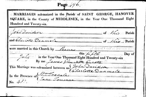 Middlesex Marriage Records Ruth S Ancestor S The Davidson Family