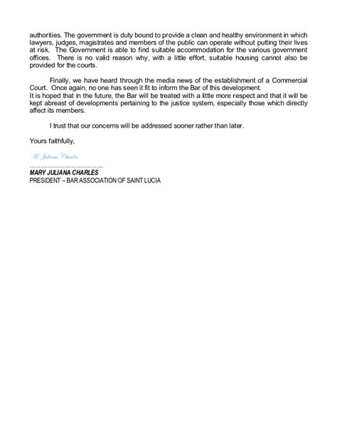 Sle Letter To Minister Of Justice
