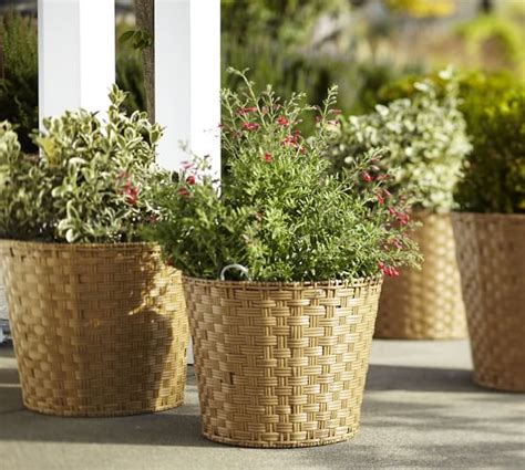 All Weather Planters by Glenwillow All Weather Wicker Planters Pottery Barn