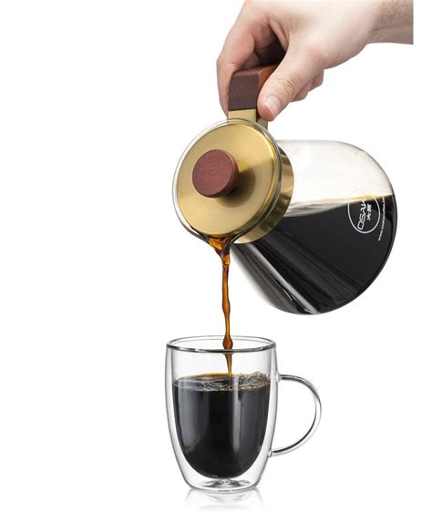 Osaka Coffee Large pour over coffee dripper. Gold cone with Wood Stand.