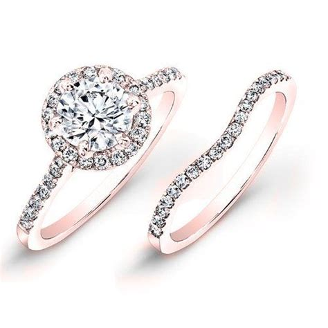 gold pave halo engagement ring and band for