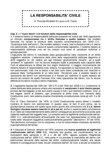 dispense diritto civile la responsabilit 224 civile mirabelli feola docsity